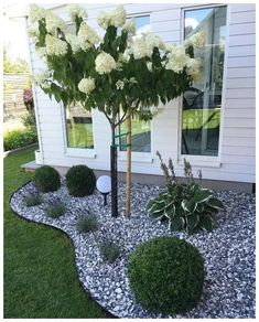 Simple, easy and cheap DIY garden landscaping ideas for front yards and backyard. - Simple, easy and cheap DIY garden landscaping ideas for front yards and backyard… – Сад – - Small Backyard Landscaping, Front Landscaping Ideas, Landscaping Design, Rocks In Landscaping, Landscape Rocks, House Landscape, Front Yard Ideas, Front Yard Design, Backyard Pools