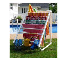 Terrific Creative DIY Towel Rack for your backyard pool! The post Creative DIY Towel Rack for your backyard pool!… appeared first on Feste Home Deco . Pvc Pool, Pool Fun, Towel Rack Pool, Pool Towels, Towel Racks, Towel Storage, Drying Racks, Swimming Towels, Piscine Diy
