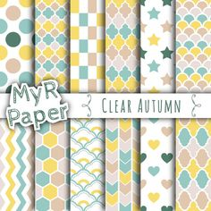 """Digital Paper : Hexagon, Polka dots, Shamrocks, Instant Download """" Clear Autumn """"  turquoise, green, yellow, beige and fresh white"""