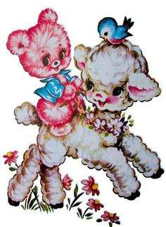 couple floral retro vintage lamb, bear and bluebird decal ~ actually this decal was around in the cause it was on the end on our baby bed! Ive got pictures of this! Vintage Birthday Cards, Vintage Greeting Cards, Old Images, Vintage Images, Vintage Love, Retro Vintage, Vintage Clip, Kitsch, Vintage Nursery