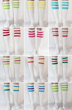 11 dif Colors White w Neon Knee High Stripe Tube Socks Old School USA | eBay