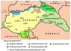 Hungary in 1941 with territories annexed in - Second Vienna Award - Wikipedia Novi Sad, Old Maps, Historical Maps, Budapest Hungary, World War Ii, Vienna, Germany, Autumn 2017, Moldova