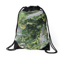 #Drawstring Bag, #Top #honeysuckle,#vines,#barn,#photography
