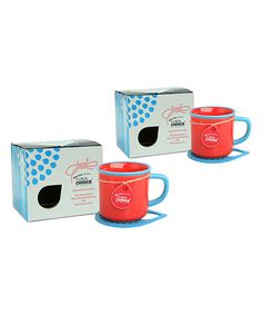 Red & Sea Blue Mug & Coaster Pair - Set of Two #zulily #zulilyfinds