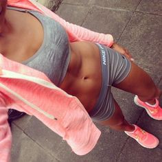 Gray and pink workout gear