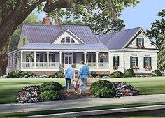 The porch is 8'-deep on Architectural Designs 3 Bed Cottage House Plan 32640WP. Inside it has 3 beds, 2.5 baths and just over 2,000 sq. ft. of living. Plus, there's expansion over the garage. Ready when you are. Where do YOU want to build?
