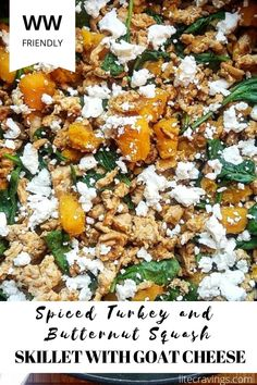 This Spiced Turkey and Butternut Squash Skillet with Goat Cheese is all cooked in one skillet and is finished in 30 minutes. Perfect for a quick but impressive way to switch up your menu! #skilletmeal #butternutsquash #spicedturkey