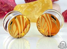 Pyrex glass colorfront plugs (Flora and fauna on amber)