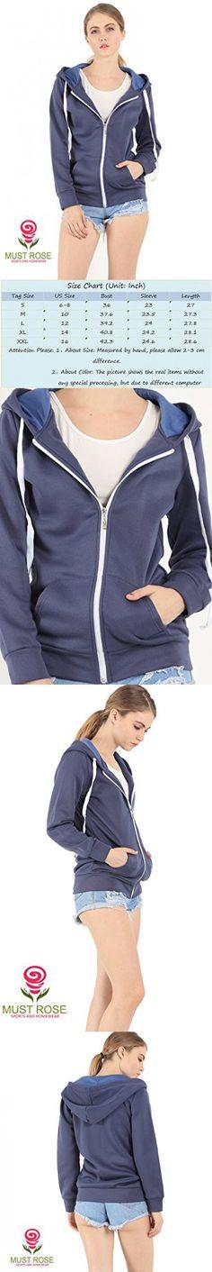11d7d35f51a Must Rose Unisex Plain Hooded Zip Up Top Zipper Hoodie Jacket (XX-Large