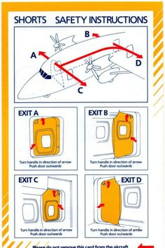 SUNSTATE AIRLINES/AUSTRALIAN AIRLINES SHORTS AIRCRAFT SAFETY CARD Australian Airlines, Safety Instructions, Evening Sandals, Design Graphique, Pilots, Investigations, Aviation, Aircraft, Shorts