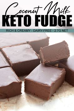 This dairy-free keto fudge is creamy chocolate heaven! My daughter declared it to be the best fudge Ive ever made. Now thats a ringing endorsement. Low carb and nut-free too! Dairy Free Fudge, Dairy Free Recipes, Diet Recipes, Dairy Free Truffles, Dairy Free Low Carb, Low Sugar Recipes, Dairy Free Chocolate, Healthy Low Carb Recipes, Low Carb Chocolate
