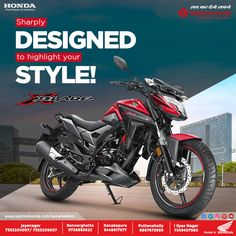 Take on the road in comfort and style. The Honda X Blade comes with a powerful engine Contact Us: 8880230011 Web Design Tips, Ad Design, Graphic Design, Social Media Ad, Social Media Design, Motogp Valentino Rossi, Drag Racing, Auto Racing, Banner Design Inspiration