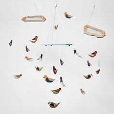 wooden mobile | wooden birds | nursery gift | handmade | ecopaint |   #projekt_dzioopla #handmade #woodenmobile