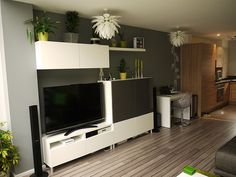 ikea besta design ideas - Google Search: Shelf above taller cabs/desk to right