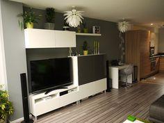 ikea besta design ideas - Google Search: Shelf above taller cabs/desk to right