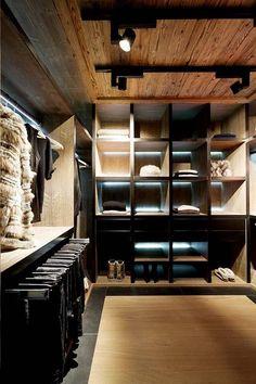 Bullpin organization. Create with barn doors(?) on front. Chalet Cyanella-16-1 Kind Design. Mountain cabin closet.