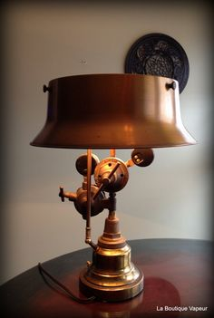 Handmade Steampunk industrial table lamp made from vintage antique torch gauges…