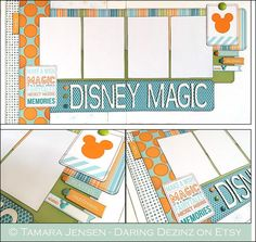 DISNEY Magic This 2 page 12x12 layout is perfect for photos of your magical Disney vacation: rides, characters, parades, fireworks, shows, food,