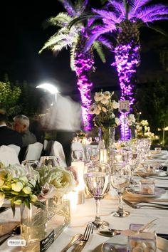 Venue decoration. Banquet tables with floral arrangements.