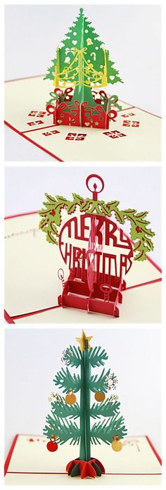3D Pop Up Paper Handmade greeting card for 2015 Christmas ideas.