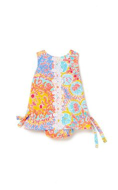 Don't leave even the smallest member out....this adorable print dress starts at 6-12 and we have it up to 18-24....gorgeous colors.