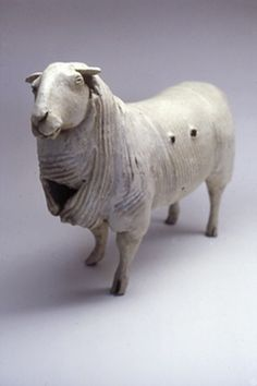 Susan Halls. Glazed Sheep. Soft slabbed and carved paperclay. Stoneware glazed. 16 L (sold).