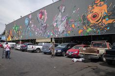 Street art outside the Mercado de Jamaica. This is the flower market. Expect bold and vibrant colors.