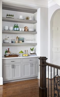 : Built in cabinets with floating shelves brownkitchens – Kelsi - Home Coffee Stations Built In Bar Cabinet, Kitchen Buffet Cabinet, Built In Buffet, Dining Room Buffet, Built In Cabinets, Kitchen Nook, Kitchen Redo, New Kitchen, Kitchen Remodel