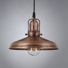 """This antique pendant light fixture is made from real copper, then given a vintage finish to deliver a """"weathered"""" copper look. Equally suited to restaurants or kitchen islands, it adds warm, old-fashioned charm to any room. The Woodhill antique pendant Copper Pendant Lights, Copper Lighting, Glass Pendant Light, Antique Lighting, Pendant Light Fixtures, Light Fittings, Vintage Pendant Lighting, Cabin Lighting, Backyard Lighting"""