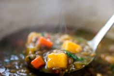 Lentil Stew With Pumpkin or Sweet Potatoes Recipe - NYT Cooking Pumpkin Recipes, Soup Recipes, Vegetarian Recipes, Cooking Recipes, Healthy Recipes, Fall Recipes, Vegetarian Stew, Lentil Recipes, Vegan Soup