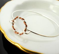 Twisted Elegance Sterling Silver and Copper Bangle by unkamengifts, $34.00