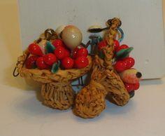 vintage hanging baskets with fruit screw on backs