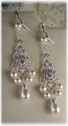 New w/Swarovski Crystal Floret/Pearl Chandelier Earrings-Bridal Collection