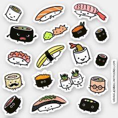 Fun Sushi and Sashimi Characters Vinyl Sticker Set Stickers Cool, Food Stickers, Kawaii Stickers, Journal Stickers, Funny Stickers, Printable Stickers, Pusheen Stickers, Laptop Stickers, Tumbler Stickers