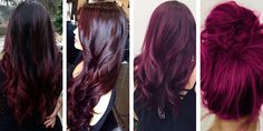 Purple Red Hair Color Chart - Best Natural Hair Color for Grey Check more at www. Magenta Hair Colors, Red Brown Hair Color, Hair Color Shades, Hair Color Auburn, Hair Color For Black Hair, Cool Hair Color, Grey Hair, Matrix Hair Color Chart, Wine Hair
