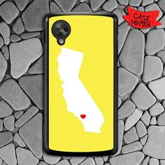 Yellow State Heart Nexus 5 Black Case