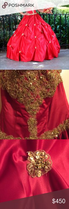 Beautiful Scarlet Red Princess Gown Worn only once! Hoop skirt not included because it was tented for the occasion. Recommended dry cleaning before use. Can negotiate on prices. Dresses Prom