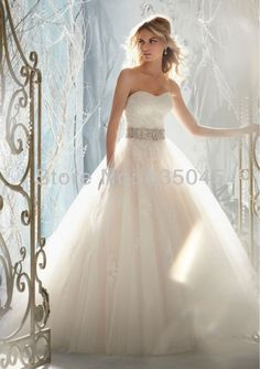 Free Shipping Custom made White/Ivory Satin Applique Beaing Crystal A-Line Wedding ABridal Gown - Cool Wedding Dresses And More - Buy Now
