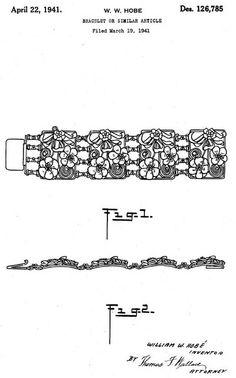 Hobé - Bijoux Vintage - Bracelet et Boucles d'Oreilles - Argent - Années 40 - Esquisses et Croquis