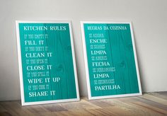 Porque a cozinha não tem de ser decorada apenas com loiças, aqui fica uma sugestão de um print para a cozinha com algumas regras para a manter sempre limpa e organizada para os mais esquecidos ;) p...