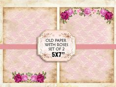 Old paper Vintage with roses Shabby chic paper Scrapbook Decoupage 5x7 inch (379) #karisagraphic #digital_collage_sheet #domino_tile #etsy #digital_graphic