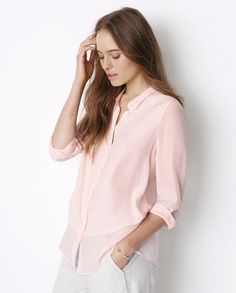 Image of Silk Tiered-front Shirt