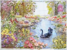 Tranquil Waters in silk ribbon embroidery by Annisa Lam from Hong Kong