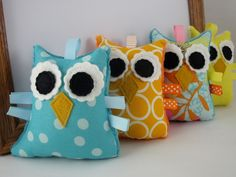 Owl Plush Rattle Baby Toy Small Stuffed Owl Minky Plush Aqua Teal. $12.00, via Etsy.