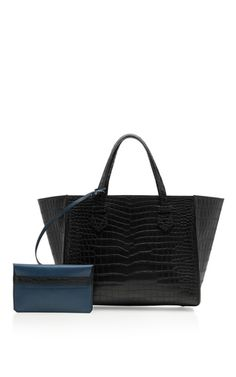 Medium Black Crocodile Skin Bregançon Top Handle Bag by MOREAU for Preorder on Moda Operandi