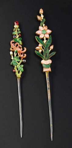 Two hardstone inlaid silver floral hairpins; each inset with jadeite, rose quartz and seed pearls Ca. Qing Dynasty, 19th century