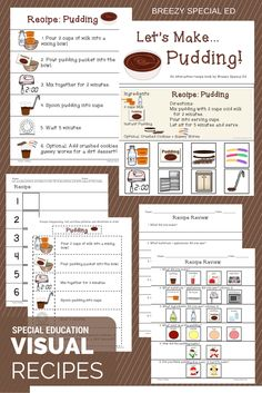 Visual recipes with worksheets and interactive books! A must for all special education classes!