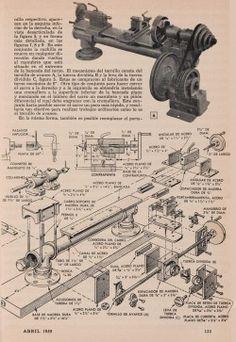 TORNO DE MECANICO HECHO CON PIEZAS CORRIENTES ABRIL 1959 003A copia