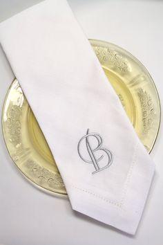 custom napkins, leaf monogrammed embroidered cloth dinner napkins