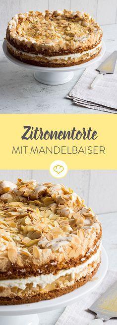 Für alle Fans von Mandeln, Zitronen-Eis und -Limonade ist diese Zitronentorte mit Mandelbaiser ein absolutes Muss. Zitronig frisch, herrlich süß, einfach lecker.